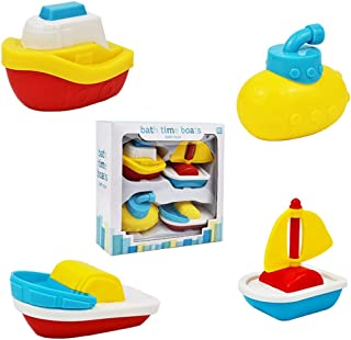 Legendog 4PCS Bath Toy Innovative Floating Boat Toy Water Toy Bathtub Toy for 1-4 Years Old Kids