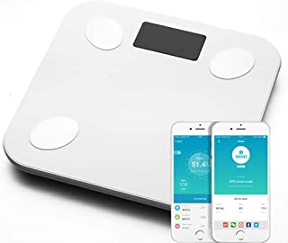 HJTLK Báscula de baño Digital, Báscula de pesaje Báscula de baño de Peso, Balanza Digital LED Inteligente electrónica de Floor Scientific, APLICACIÓN Bluetooth para Android o iOS, 180 kg