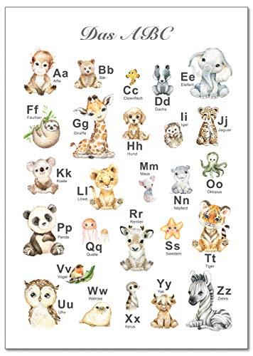 artpin® Póster ABC para habitación infantil, alfabeto de animales, póster de aprendizaje, primera clase DIN A3, decoración de Navidad, imágenes de safari, niña, niño, bebé, animales, bosque selva P69