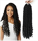 HELLOSH Goddess Locs Faux locs crochet hair Crochet Braiding 18' With Curly Ends Pre Looped Goddess Locs Black Crochet Braiding Hair (#1B Black),6 Pcs/lot+free crochet hook+free colorful ring