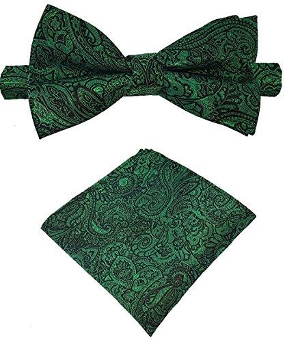 Louis Binder de Luxe Fliege mit Einstecktuch und Aufbewahrungsbox 2er Fliegen Set Schlips Querbinder Schleife Mascherl Krawattenschleife 423 grün Paisley