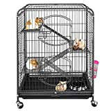 """ZenStyle 37"""" Small Animal Cage Indoor Portable Pet Habitat with 2 Front Doors and Pull Out Tray for Ferret/Rat/Cat/Hamster/Chinchilla/Guinea Pig/Bunny or Other Small Pets"""