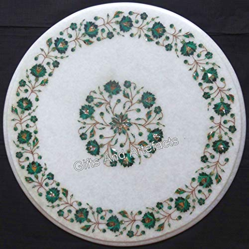 Gifts And Artefacts 16 x 16 Inches White Coffee Table Top Round Sofa Side Table Royal Design with Malachite Stones