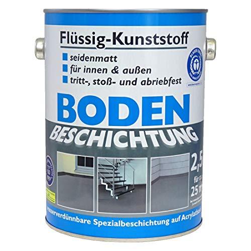 Wilckens Bodenfarbe Flüssig Kunststoff RAL 7001 Silbergrau 2,5 l, Beton Bodenbeschichtung, Fußbodenfarbe für innen und außen