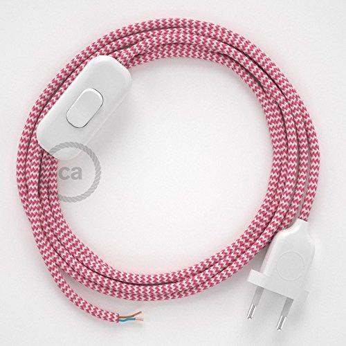 creative cables Cordon pour Lampe, câble RZ08 Effet Soie Zigzag Blanc-Fuchsia 1,80 m. Choisissez la Couleur de la fiche et de l'interrupteur! - Blan