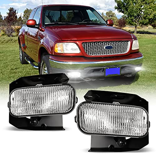 Fog Light for 99-03 Ford F-150 F150, 04 Ford F-150 F150 w / Bulb, 99-02 OEM Ford Expedition, Pair of NIXON OFFROAD Fog Lamp Replacement Clear Lens - H10 12V 42W