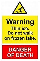 凍った湖の警告 メタルポスタレトロなポスタ安全標識壁パネル ティンサイン注意看板壁掛けプレート警告サイン絵図ショップ食料品ショッピングモールパーキングバークラブカフェレストラントイレ公共の場ギフト