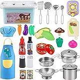 TwobeFit Küchenspielzeug Zubehör Kinderküche Kochgeschirr, Kochset Koch-Rollenspiel mit Töpfen und Pfannen, Schürze und Kochmütze, Dosenflaschen zum Geburtstag