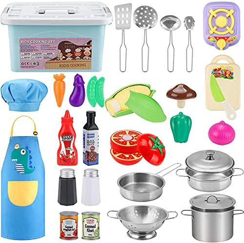 TwobeFit Juguetes de Cocina para niños, Juego de Cocina para Chef, Juego de Roles con ollas y sartenes, Delantal y Gorro de Chef, Botellas de conservas para Navidad y Fiesta de cumpleaños