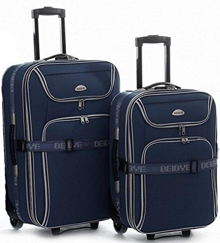 Juego de 2 maletas con ruedas, 66 y 56 cm, con correa para maleta, color azul oscuro