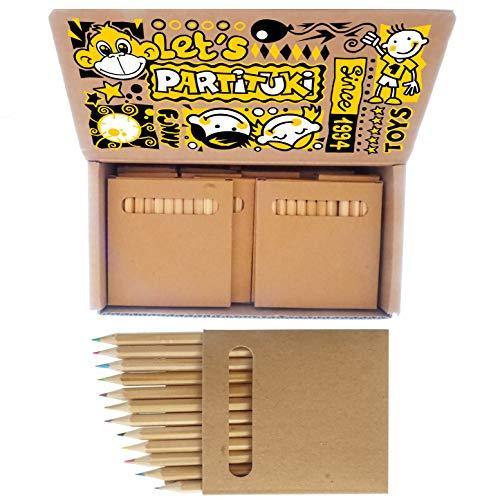 20 Sets de Lápices de Colores Infantiles Partituki. 12 Mini Lápices por Caja. 240 Lápices en Total. Ideal Fiesta de Cumpleaños Infantiles, Recuerdos de Bodas y Colegios