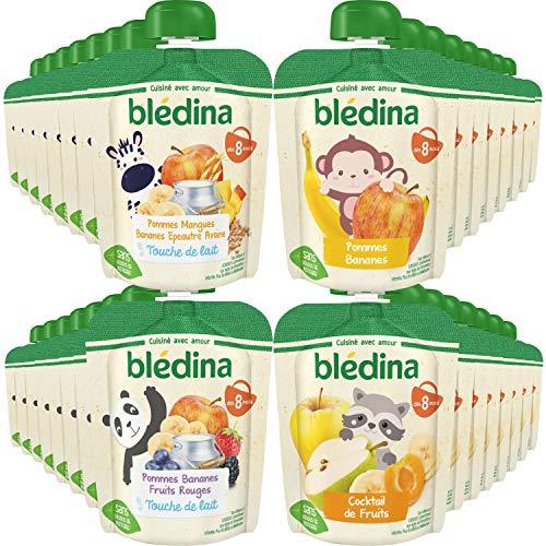 Blédina, Gourdes Purées de Fruits Bébé, Fruits et touche de lait, Dès 8 Mois, 90g (Packx32)