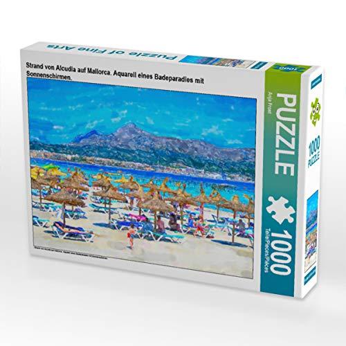 CALVENDO Puzzle Strand van Alcudia in Mallorca. Aquarel van een zwemparadijs met paraplus. 1000 pieces 64 x 48 cm from Anja Frost