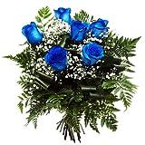 Ramo 6 Rosas AZULES - Flores naturales a domicilio en 24h - Tarjeta DEDICATORIA incluida (Entrega entre semana)