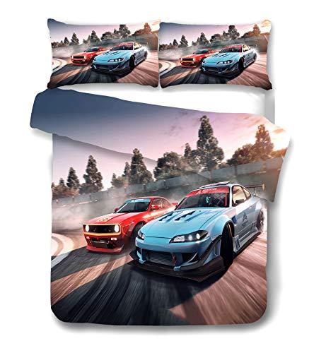 DDONVG Racing Sports Car Juego de ropa de cama para niños y adolescentes, decoración de deportes extremos, colcha, cojín de microfibra de algodón (140 x 210 cm)