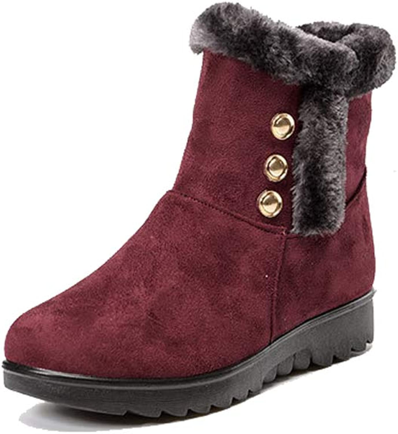 Believed Fashion Cute Autumn Winter Boots shoes for Women Short Round Toe Solid Ankle Boots
