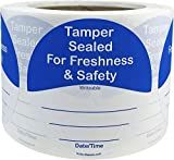 InStockLabels 500 Blue/White Circle Tamper-Evident Food Seal Stickers with Date and Time Section, Labels for Food Containers (3 Inches)