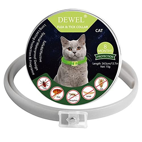 DEWEL Collar Antiparasitos Perro Gato, Collar Antiparasitario Fluorescente contra Pulgas, Garrapatas y Mosquitos para Perro Pequeño Mediano