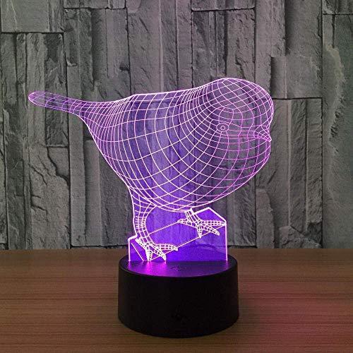 3Dnoche la luz7del color ligero del pájaro3dnoche hijos ligero toqueUSBlámpara de mesa bebé de la noche de sueño ligeroUSB LED 3Dluz