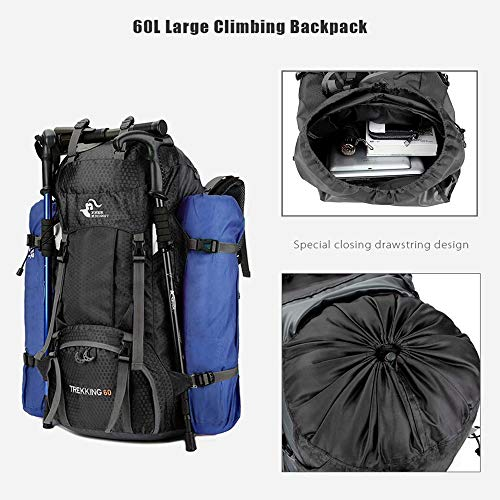 60L Waterproof Ultra Lightweight Hiking Backpack with Rain Cover,Frameless,Outdoor Sport Daypack Travel Bag for Climbing Camping Touring Mountaineering Fishing (Black)