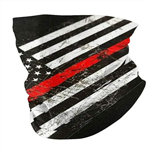 USA Thin Red Line Firefighter Axe Face Scarf Cover Mask Dust&UV Neck Gaiter Summer Bandana Headwear for Fishing Motorcycling Running
