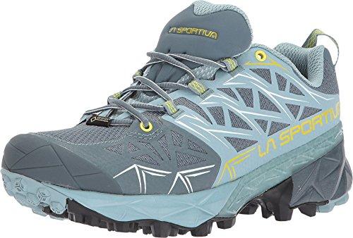 La Sportiva Akyra GTX Womens Mountain Running Shoe, Slate/Sulphur, 38.5