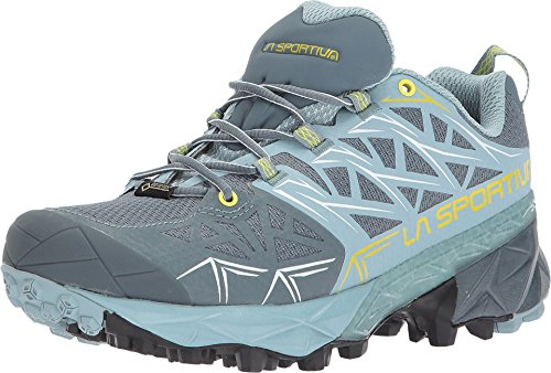 La Sportiva Akyra GTX Womens Mountain Running Shoe, Slate/Sulphur, 38