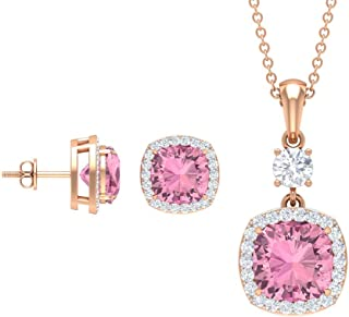 Rosec Jewels - Pendant and Earrings Set with 6.3 CT Tourmaline, 0.9 CT D-VSSI Moissanite Jewerly