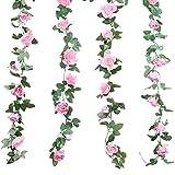 TheStriven 2 Pezzi 240 cm Vite Rosa Artificiale con Foglie Verdi Silk Fiori Finti Ghirland...