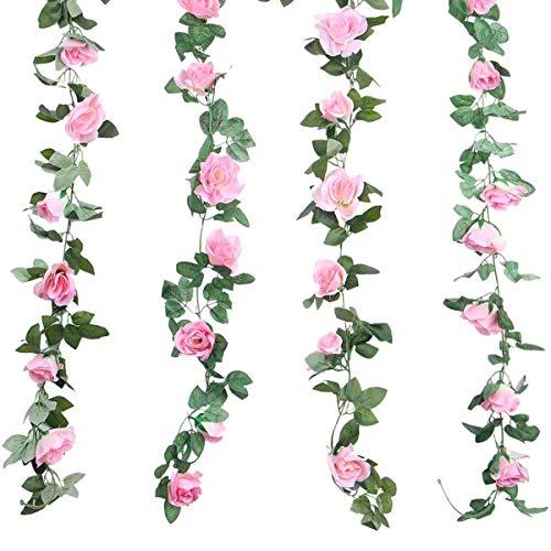 TheStriven 2 Stück Künstliche Blume Girlanden Gefälschte Rose Rebe Blumen Künstliche Eukalyptusgirlande Künstlich Seidenblumen Gefälschte für Zuhause Wand Hochzeit Bogen Dekor 240cm, 16 Blumen (Rosa)