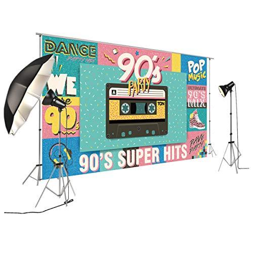 NIVIUS PHOTO Telón de fondo de banner de fiesta disco - Fondo de Vinilo sin Reflejos - Volver a Telón de fondo de Photobooth de decoración de fiesta de los años 80 y 90 XT-7376