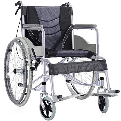 XINTONGDA Faltbare Rollstuhl Mit rutschfesten Armlehnen, Leichtgewichtrollstuhl Drive Medical Metallic, Rollstuhl Reise Rollstuhl, Sitzbreite 47 cm, Tragfähigkeit 100 kg