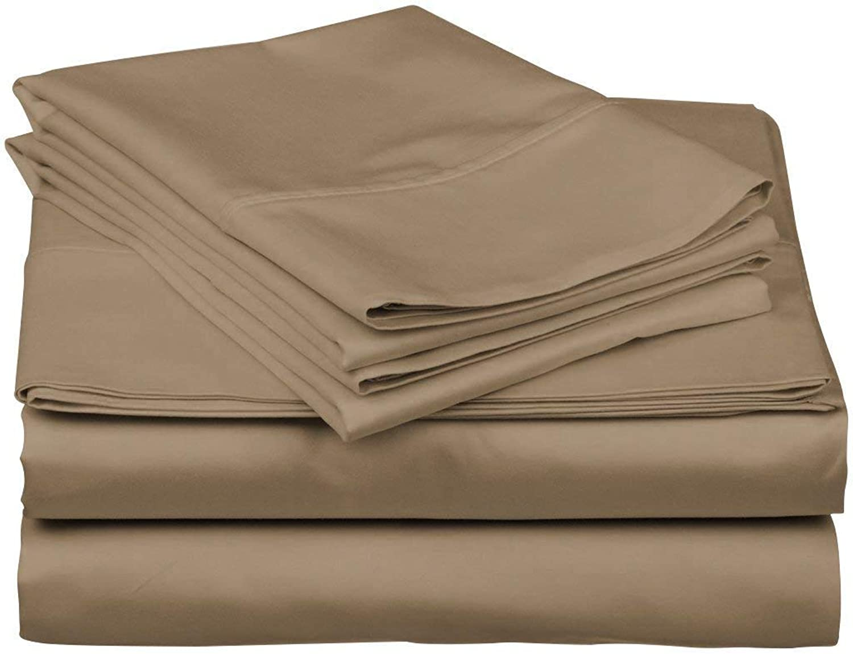 ARlinen 4 Piece Bed Sheets Set 400ThreadCount 100% Cotton Deep Pocket Sateen Weave Full XL Sheet Set, Taupe