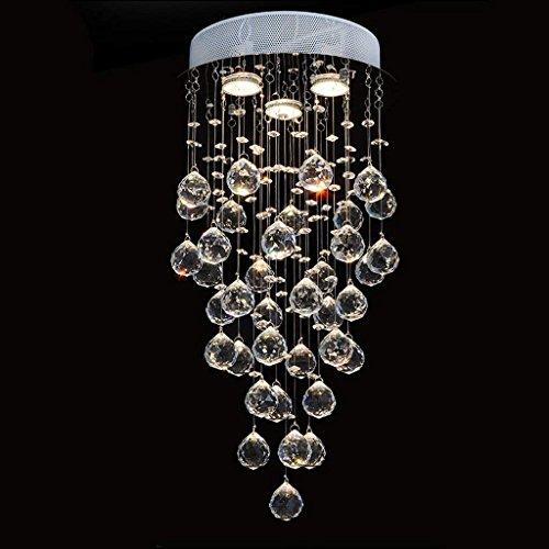 Moderne moderne kroonluchter 'kroonluchter' verlichting met kristallen bolletjes aan de binnenkant (afmetingen: 40 x 80 cm)