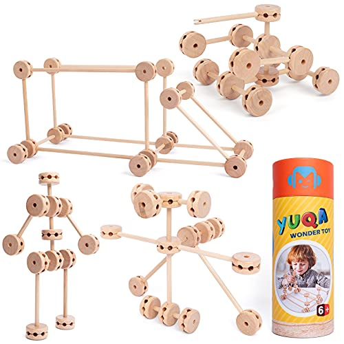 Building Blocks for Kids Ages 4-8 for Preschool Kids-60 Pieces Blocks Set 6-12 Years Old to Create Various Shapes-Stimulating Different-sized Toy for Children-Instruction Manual Included - Unique Gift