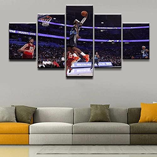 Decoracion Salon 5 Piezas de Arte Marco,Moderno HD sobre lienzos Baloncesto Deportivo impresión Cuadro Usado para Hogar Oficina Regalo, Tamaño Total (H-80cmxM/B-150cm)