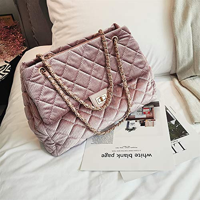 WANGZHAO Handbag, Shoulder Bag, Women's Bag, Chain, Big Capacity, Wild Style, Lock and Button,Pink