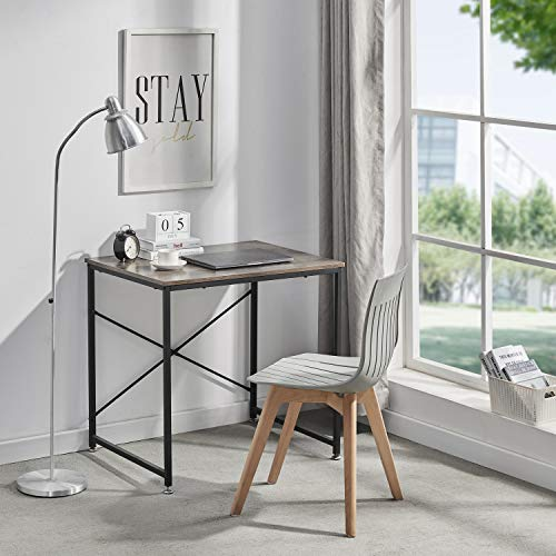 Symylife Modern Computer Desk Table Home Office Desk Modern Simple Style Laptop Table with Metal FrameVintage Grain