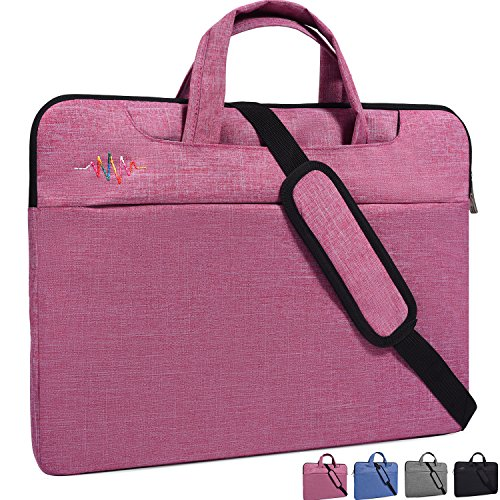 """15-15.6 Inch Laptop Bag,Girl/Lady Simplicity Stylish Notebook Messenger Shoulder Bag Case Briefcase for Acer 15.6"""" chromebook,Asus Dell Samsung HP Toshiba Acer MSI LG Laptop Protective Case,Light Red"""
