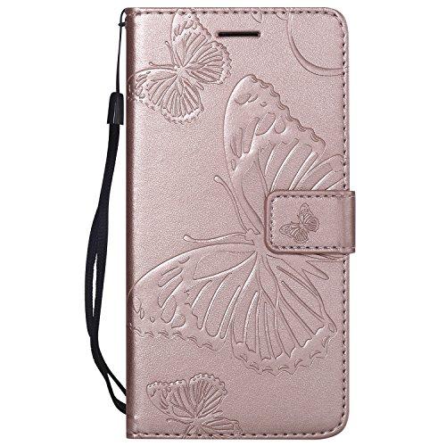 NEXCURIO LG X Power Hülle Leder, Handyhülle Tasche Leder Flip Case Brieftasche Etui mit Kartenfach Stoßfest Kratzfest Schutzhülle für LG X Power (K220) - NEKTU12703 Rosa Gold