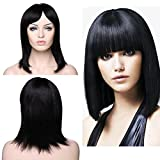 SEGO Parrucca Donna Capelli Veri BOB Lunghi Lisci Umani [Nero Naturale] 100% Remy Human Hair Wig Straight 145g - 35cm (Senza Pizzo)