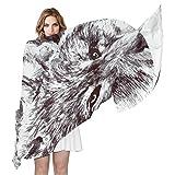 COOSUN Blanco y negro Lobo Pintura Ligera bufanda de seda largo de la bufanda del abrigo del...