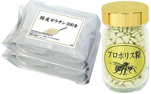 自然健康社 国産豚皮ゼラチン 100袋 + プロポリスエキス粒 115g