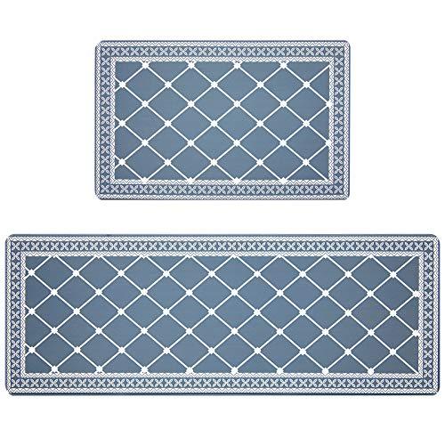 Pauwer Anti Fatigue Küchenmatten-Sets 2-teilige rutschfeste wasserdichte PVC-Fußmatten aus PVC Gepolsterte Komfort-Stehmatte Küchenläufer-Teppich-Set Leicht zu reinigen(44x70+44x120cm, Grau/Blau)