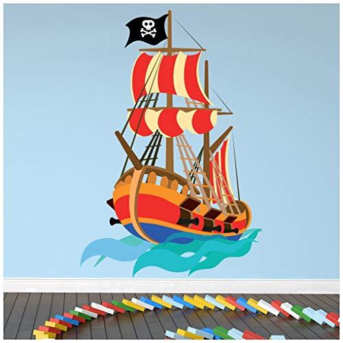 azutura Pirat Wandtattoo Piratenschiff Wand Sticker Kinder Jungen Schlafzimmer Wohnkultur Erhältlich in 8 Größen Groß Digital