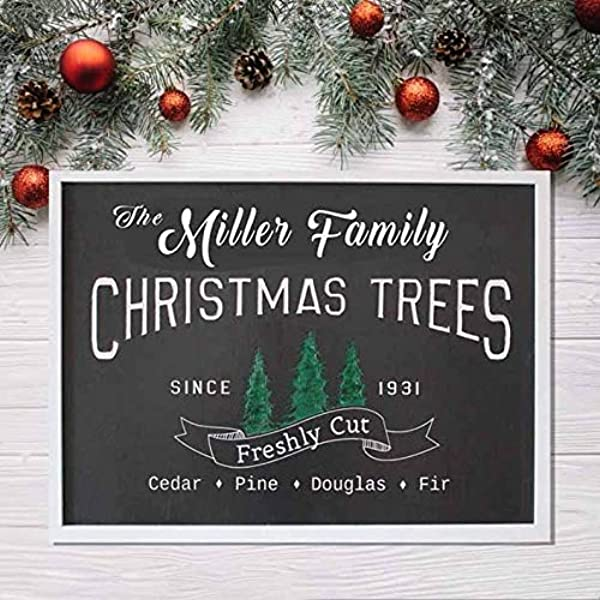 Personalized Mistletoe Farms Christmas Tree Wood Sign Holiday Decor Large