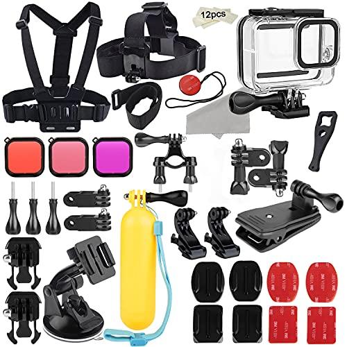 Zubehörset kompatibel mit GoPro Hero 8 Black-Zubehörpaket, wasserdichtes Gehäuse + Silikonhülle + Filter + Kopfbrustgurt + Saugnapfhalterung + Fahrradhalterung + Schwimmgriff Compatible with GoPro 8