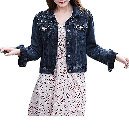 Chaqueta de mezclilla corta para mujer chaqueta de perlas suelta primavera y otoño nuevo denim, azul oscuro, XL
