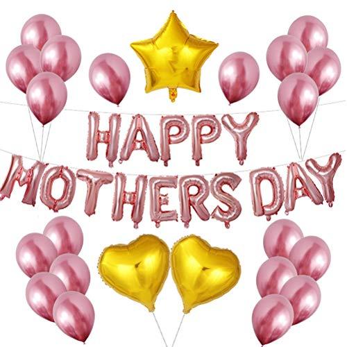 Amosfun Feliz Día de la Madre Globos Juego de Globos de Película de Aluminio Día de la Madre Carta de Globos para Decoración de Fiesta (Oro Rosa)