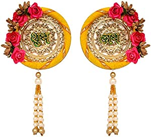 Sharda Creations SHUBH-LABH Side Door Hangings with Flower Border for Door Decoration/Diwali Decoration(Yellow&Pink)